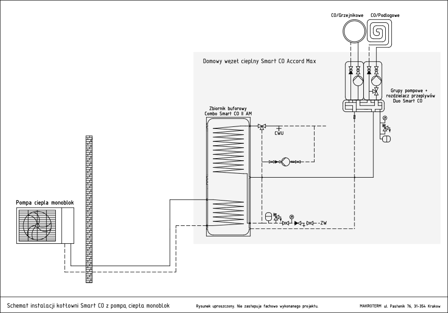 schemat instalacji z pompą ciepła